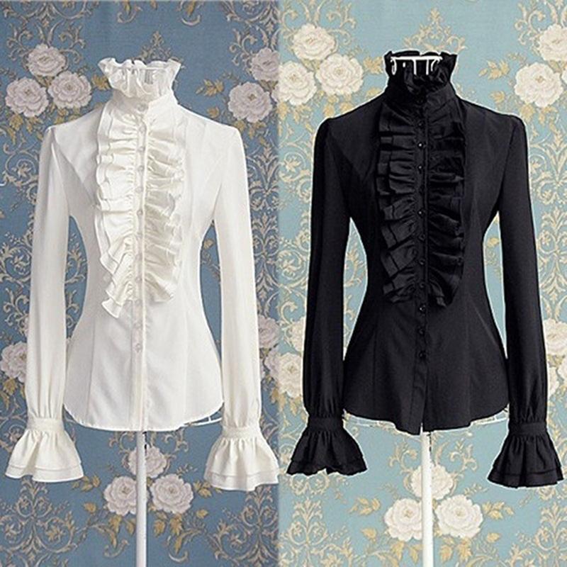Shirt Camicie donna Classic Black White Ruffle Slim Tromba manica manica lunga Modo elegante collare Office Lady supera per le donne