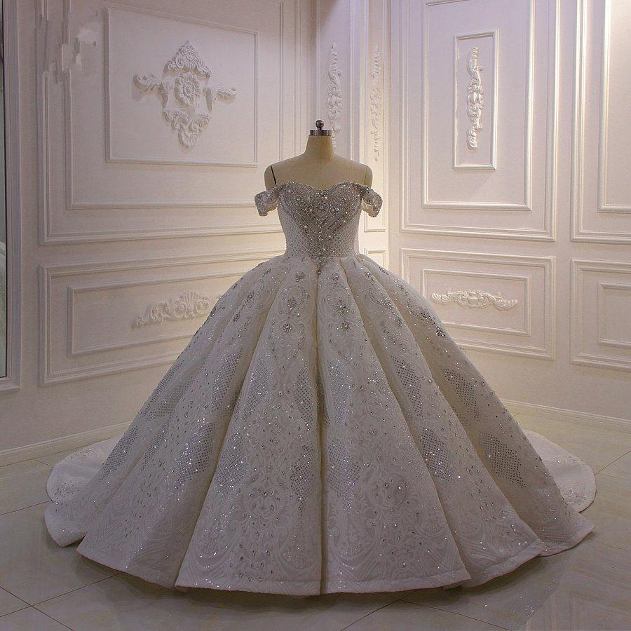 Real Pictures Ball Gown Wedding Dresse White Off Shoulder Luxury Crystal Beaded Saudi Arabian Dubai Bridal Gown Plus Size