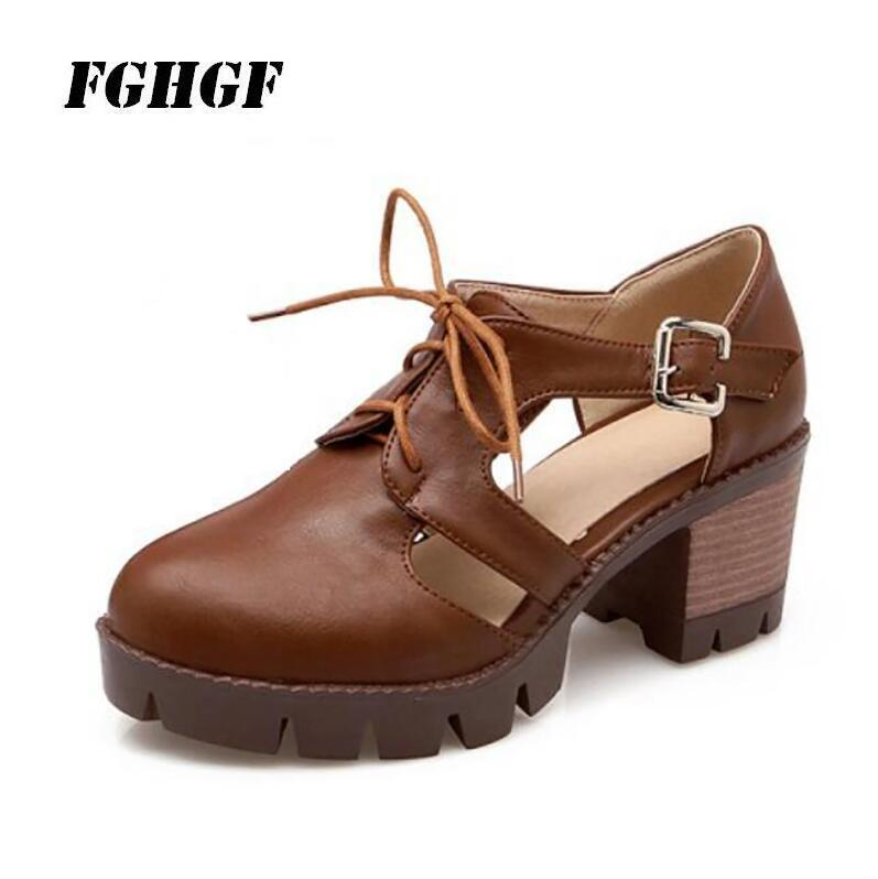 Summer new vintage hollowed-out college lace are low thick with sandals straps buckles joker women's shoes Big size 34 to 43