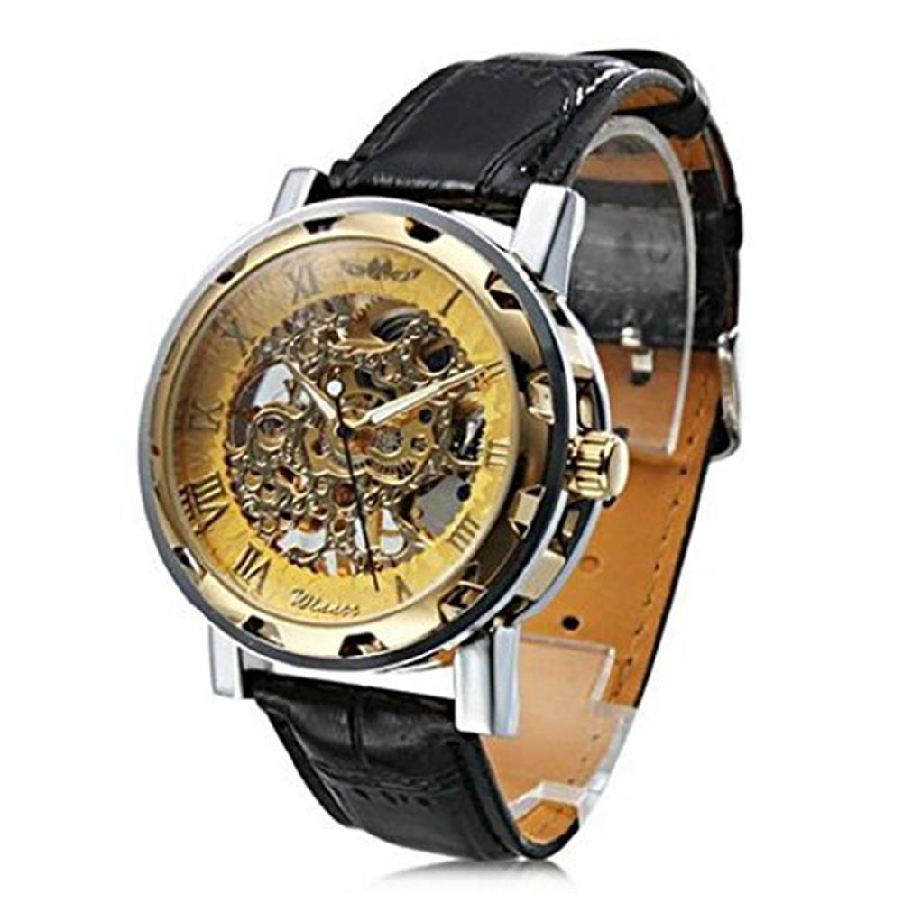LinTimes 2019 nova venda quente oco moda masculina de vento mão mecânica do couro do negócio do sexo masculino cinta relógio de pulso relogio
