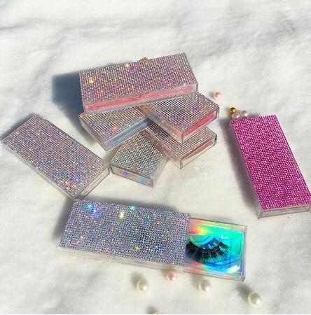 Glitter Rhinestone Lash Case 3D Mink Eyelashes Empty Custom Packaging Box Glitter Rhinestone Lashes Cases Without Eyelash GGA3220
