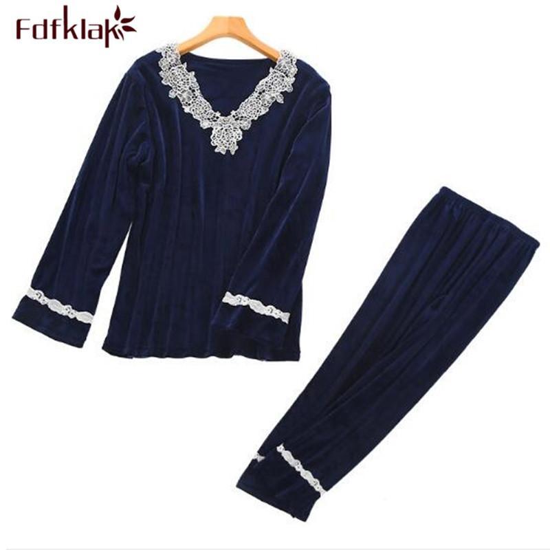 Fdfklak oro pijama de terciopelo de manga larga para las mujeres pijamas de cuello en V cordón de las mujeres mujer pijama ropa de dormir ropa de dormir de las mujeres determinadas