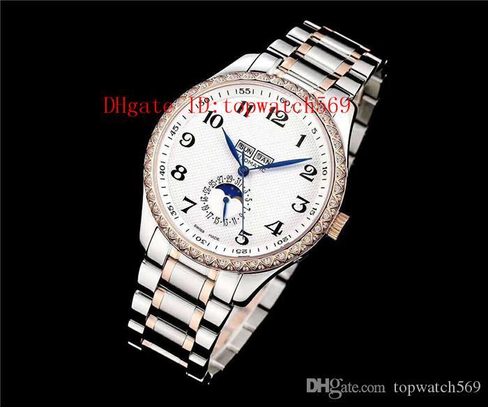 New Master Collection Assista Diamante Mens Watch Cal.L600 Lua automática fase Calendário anual Sapphire Mãe-de-pérola CNC 316L Aço