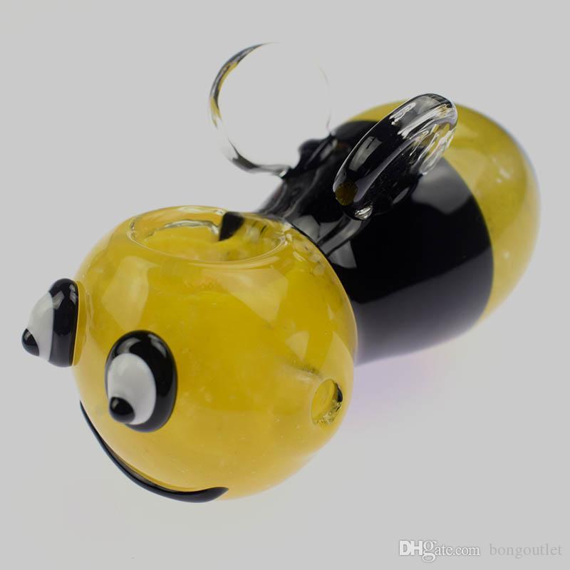 Tubi di cucchiaio design a honeybee con piccole ali   giallo nero di buona qualità stile unico in vetro stile innesto in vetro innesto