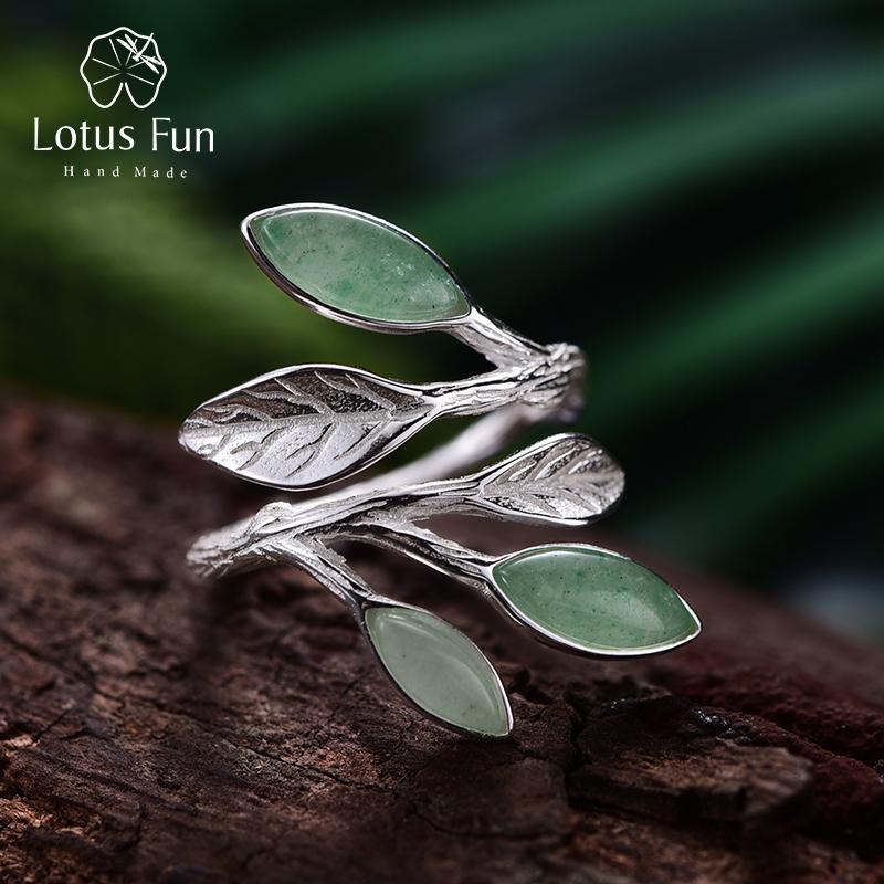 Lotus Fun réel 925 Bague en argent sterling ouvert pierre naturelle main conception haute joaillerie printemps dans les feuilles d'air Bagues de femmes LY191217