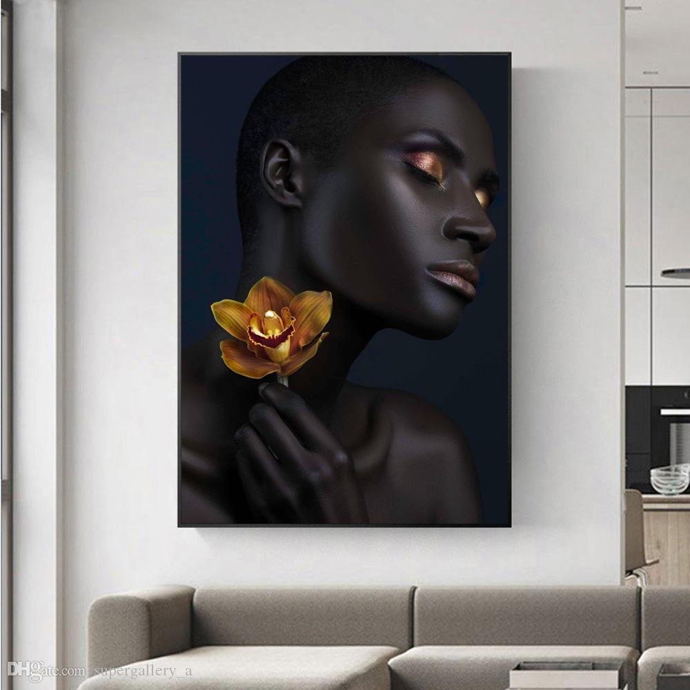 Sexy Black Girls2 Golden Makeup Home Wall Art Decor Dipinto a mano HD pittura ad olio su tela Wall Art Immagini su tela 190907