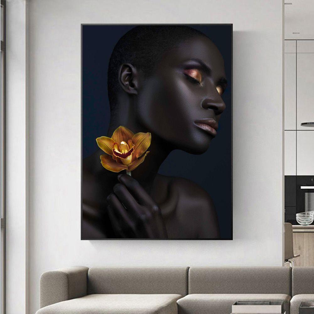 Sexy Black Girls2 Golden Makeup Home Wall Art Decor Handpainted HD Print Pintura al óleo sobre lienzo Wall Art Canvas Pictures 190907