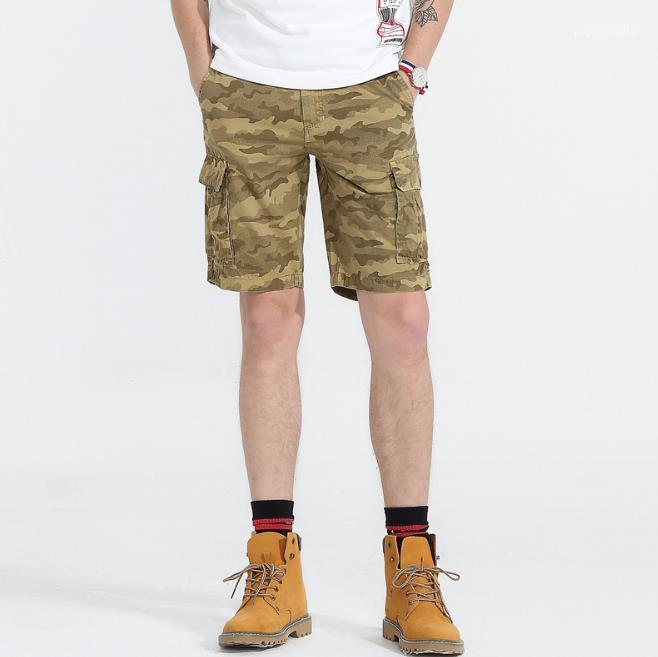 Fermuar Fly Relaxed Gevşek Midweight Homme Giyim Moda Günlük Erkek Giyim Erkek Yaz Tasarımcı Kamuflaj Şort Pantolon
