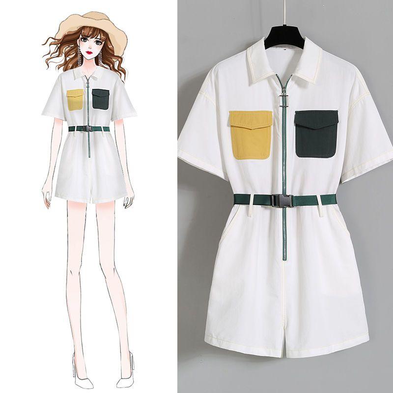 Rompers Женщины Комбинезон Шорты Femme Clubwear летние каникулы Мини игровая одежда Брюки Sexy Beach Одежда Белый Navy Карман