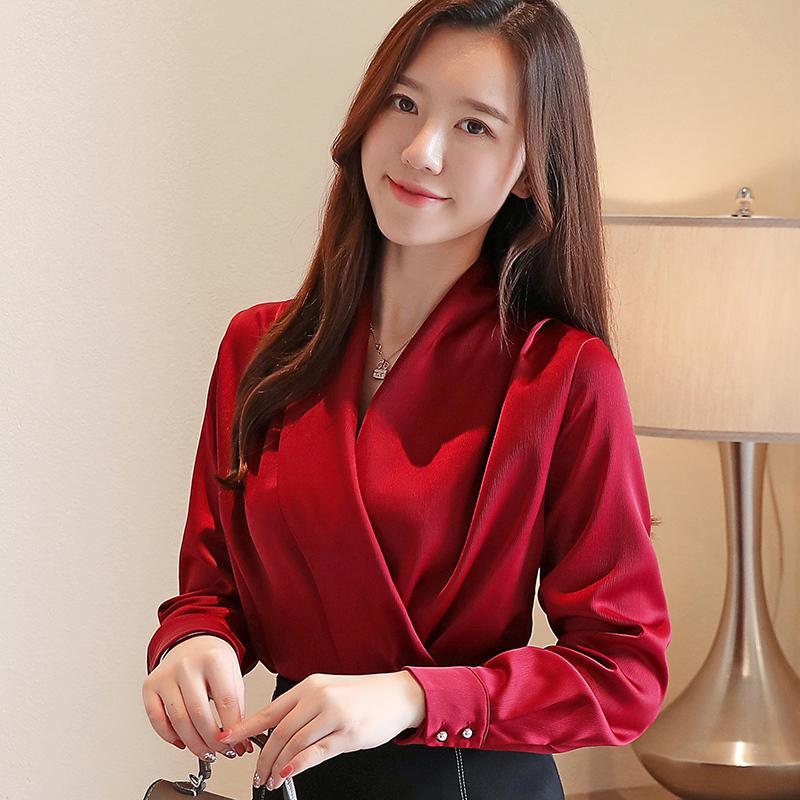 Осень корейская мода шелковые женские блузки атласные твердые женские топы и блузки плюс размер XXL розовый с длинным рукавом Женские рубашки Y200402