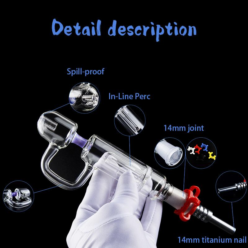 Portable Mini Glass Water Pipe Kit Dab Rig Perc Bubblers Hand pipe with 14mm Titanium Quartz Tip For Glass Bong