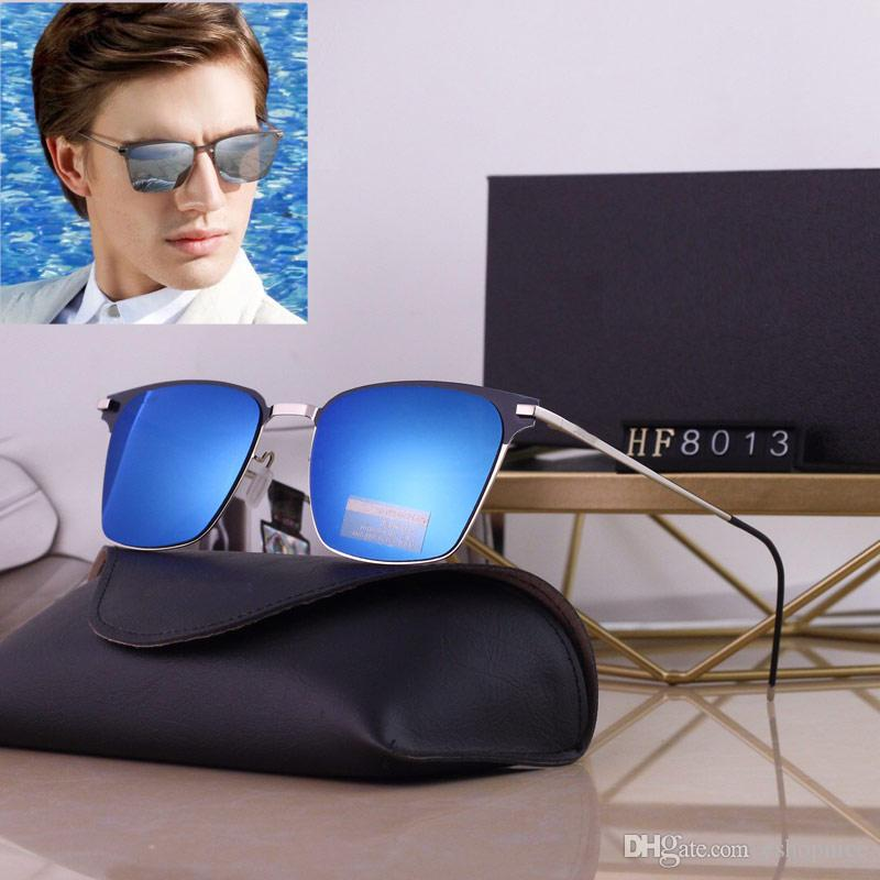 4 colors best quality men sun glasses Polarizing Plated Frame sunglasses Driving Outdoor cycling eyewear gift box