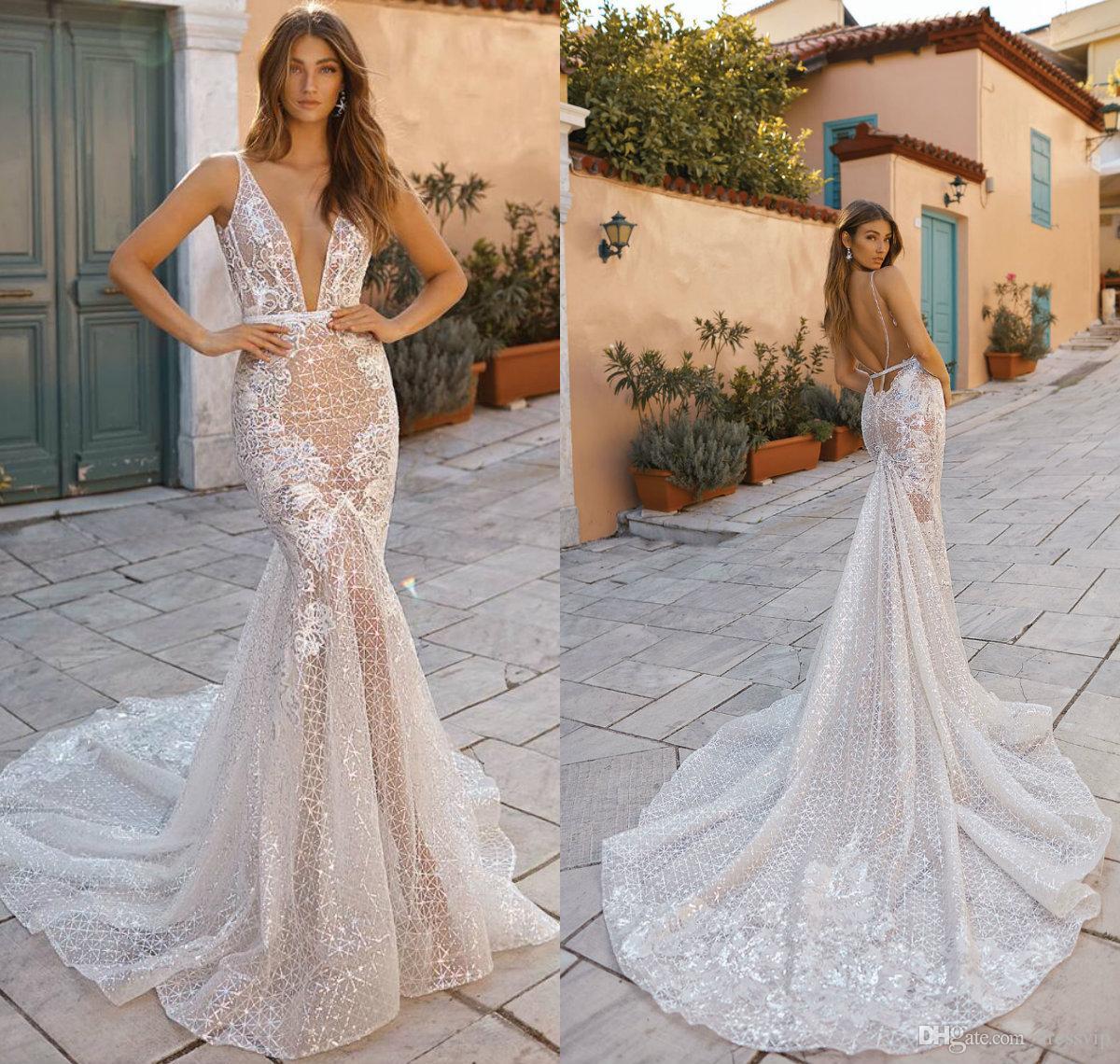 Lace Mermaid Wedding Dresses Deep V Neck Sexy Backless Sweep Train 2019 Berta Sweep Train Beach Wedding Dress Plus Size Vestidos De Novia