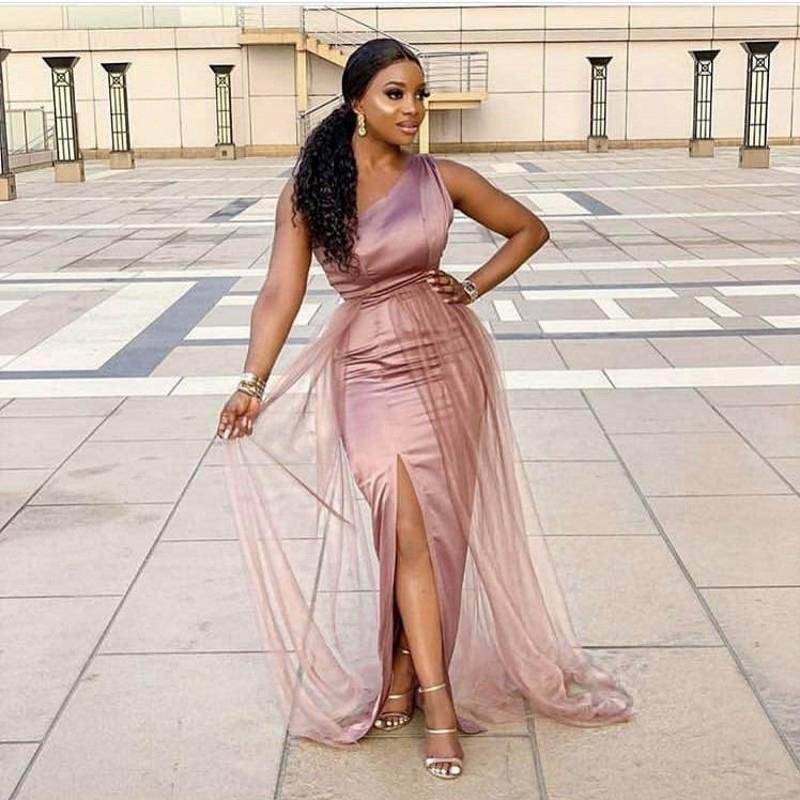 Dusty Pink Bridesmaid Dresses One Shoulder Side Slit Floor Length Elastic Satin and Tulle Mermaid Cheap Wedding Guest Dress