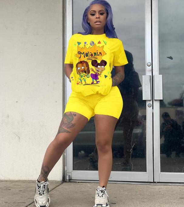 2020 Womens Tute manica corta T-shirt esplosioni a quattro colori al collo delle labbra modello sportivo a maniche corte vestito vestito a due pezzi