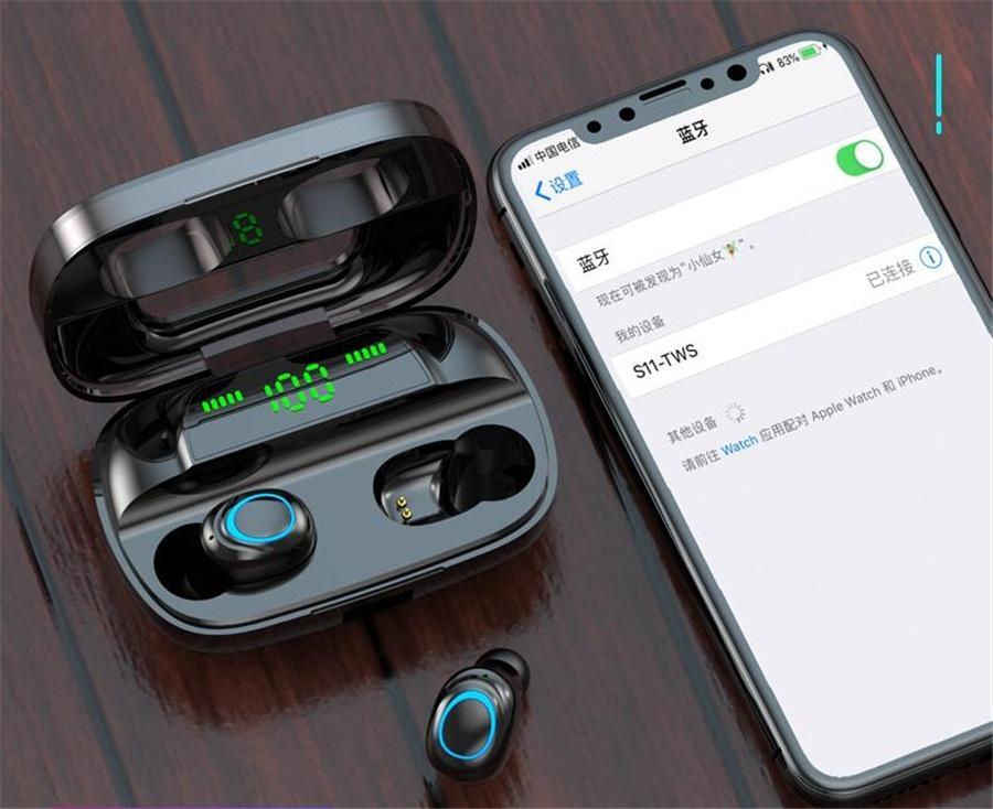 XG23 TWS 5.0 casque sans fil Bluetooth écouteurs pour le sport en cours d'exécution 6D stéréo Affichage LED casque Mini étanche avec 400mAh charge #O