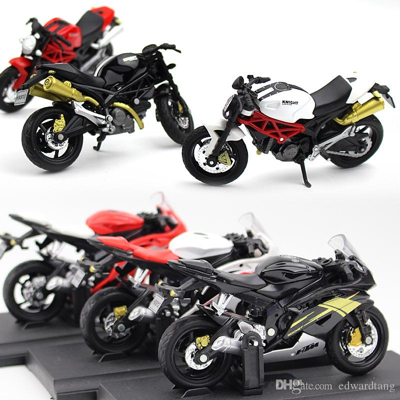 SY Mini Diecast Alloy Ducati &Yamaha Motorcycle Models Toy, 1:18 Scale, Ornament for Xmas Kid Birthday Boy Gift, Collecting, Decoration, 2-1
