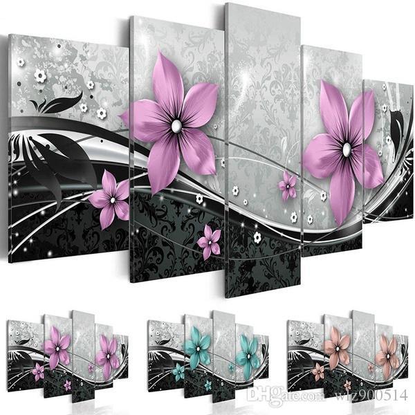 5 Adet / takım Modern Baskılar Çiçekler Yağlıboya Tuval Duvar Sanatı Resimleri Ev Oturma Odası Dekor için (Çerçeve yok)