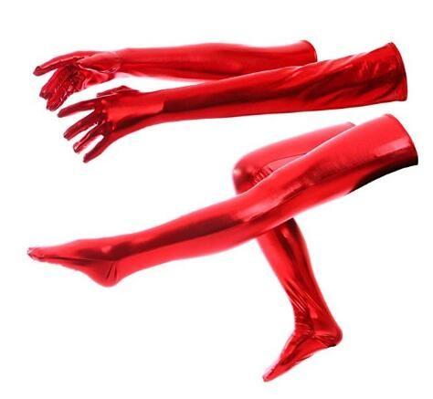 Взрослые дети унисекс длинные блестящие металлические перчатки и колготки высокие чулки хэллоуин косплей аксессуар