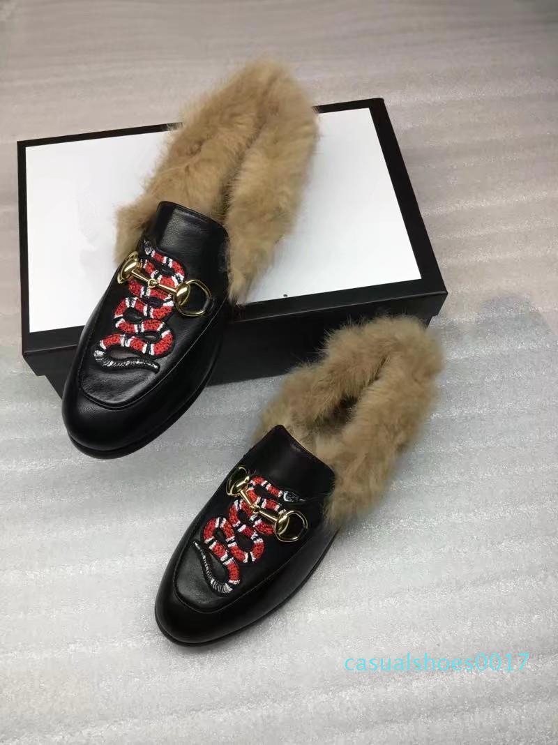 Brand New Designer Mens delle donne di velluto in pelle Jordaan Mocassini pelliccia con morsetto fibbia signore appartamenti causali scarpe EUR34-45 con box C17
