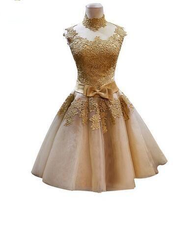 2019 New Short Lace Gold Evening Dresses Bride Princess Banquet Vintga High Neck Prom Dress Plus Size Custom Robe De Soiree 489