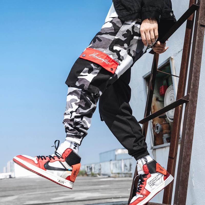 2020 Hosen Männer Jogger Hip Hop Tarnung Qualitäts-Marken-Mann-Hosen Mode Splicing Design Männer Jogginghose asiatische Größe 5XL