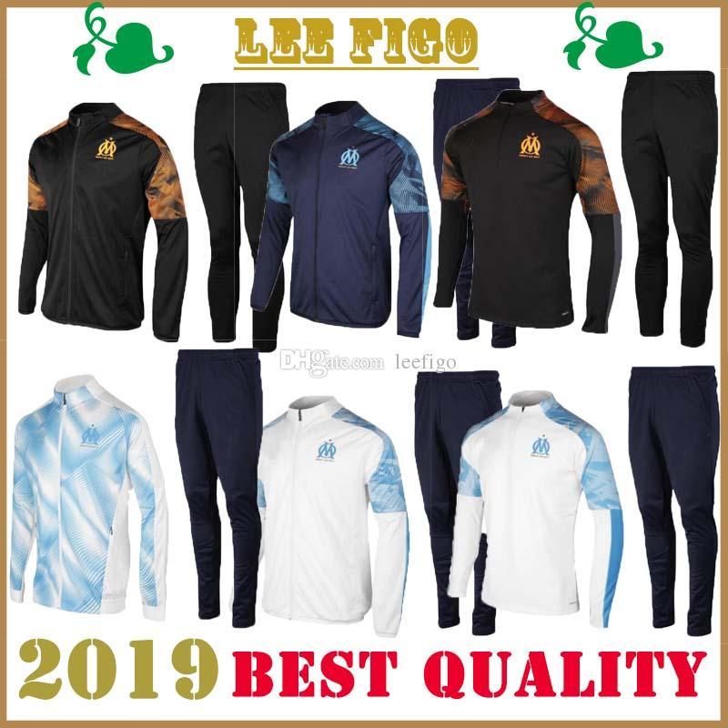 2019 más nuevo traje de entrenamiento de Jersey de fútbol de Marsella chaqueta de chándal de fútbol 2020 trajes deportivos wear2019 nuevo traje de chaqueta de entrenamiento de fútbol de Marsella