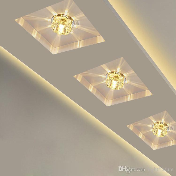 Moderne cristal plafond à LED Spot Light Corridor Hall d'entrée Aisle Porche monté au plafond Lampe encastré Home Decor Balcon Escaliers d'appareils d'éclairage