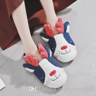 Inverno casual engrossar casa Bonito cão chinelos sapatos mulher manter quente casa retro chinelos sapatos interior TX1918