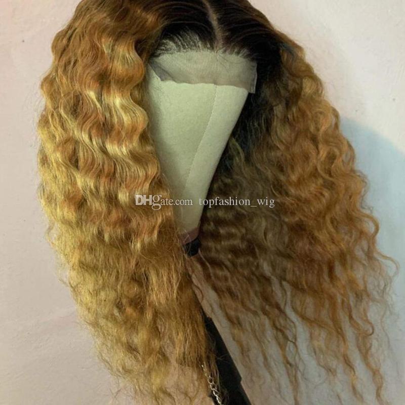 Ombre 13x4 Dantel Ön İnsan Saç Peruk T2 / 27 Bal Sarışın Kahverengi Renkli Ombre Dantel Ön Peruk Kadınlar için Precked Peruk