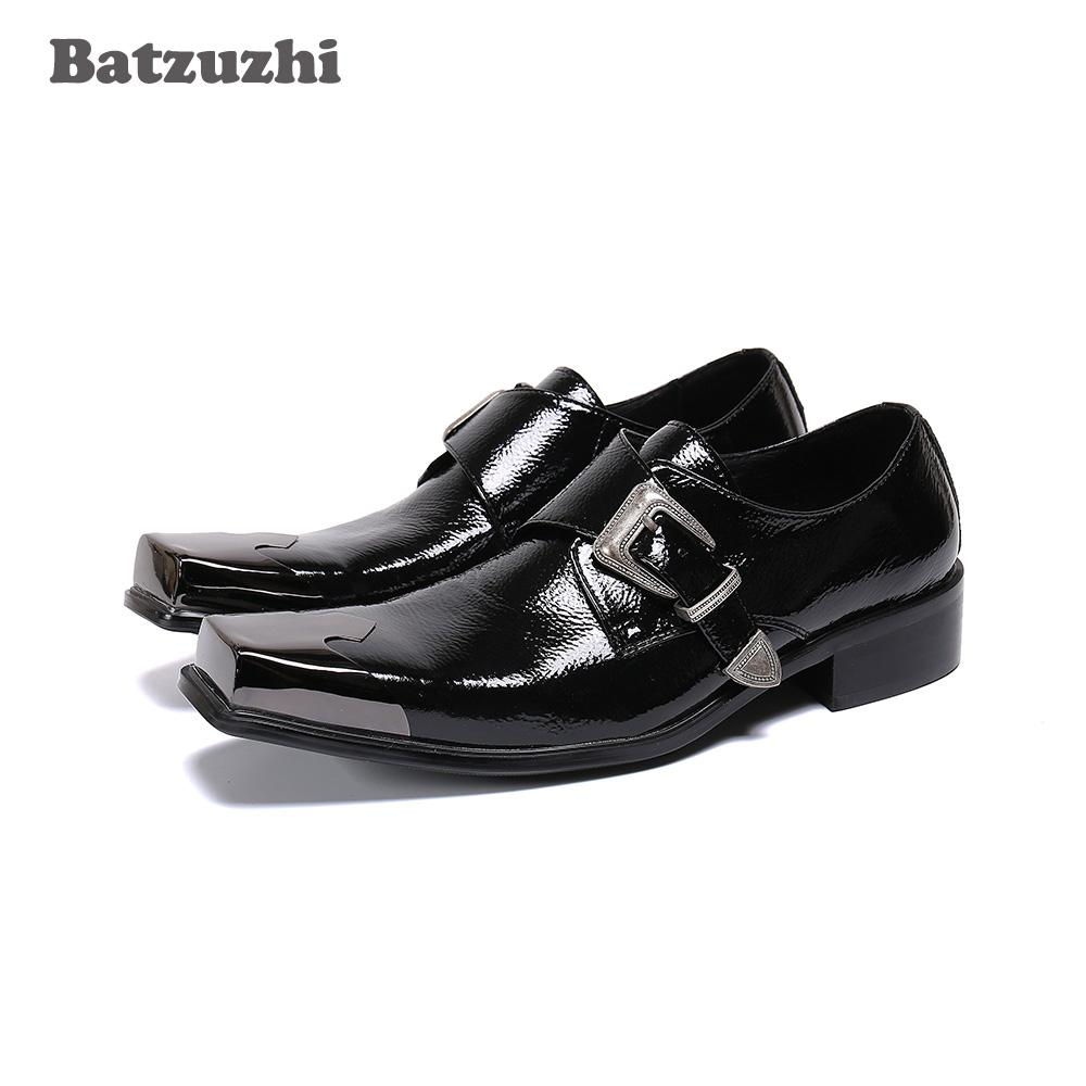 As sapatas dos homens Moda Ocidental Batzuzhi do tampão do metal Toe preto de couro genuíno Dress Shoes Men Buckle Oxfords couro Formal Negócios