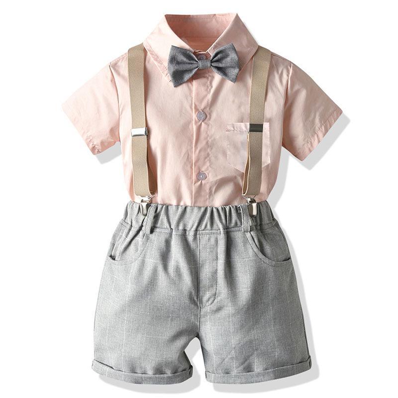 فتى البدلة ملابس الرضع بوي حفل زفاف عيد ميلاد الرجل المحترم ملابس القوس القمم التعادل + وزرة 3PCS تتسابق ملابس الصيف T200707