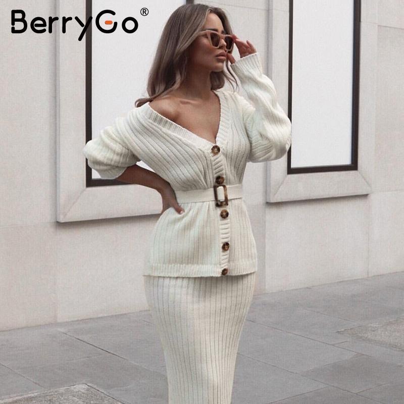 BerryGo Zweiteilige Frauen Strickkleid gesetzt Elegante Herbst Winter Pullover Smokinge Lange Hülsenknopf Schärpen reiner Rock Anzug