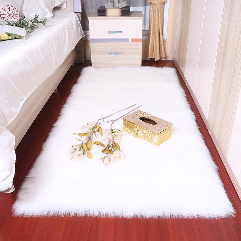 사각형 부드러운 솜털 가짜 가짜 양피 모피 지역 러그 노르딕 레드 센터 거실 카펫 침실 바닥 화이트 가짜 모피 침대 깔개