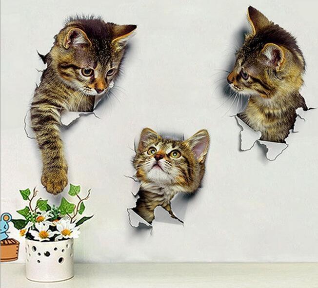 Pared 3D lindo gato bricolaje Adhesivos Adhesivo familia etiquetas en las ventanas Decoración del baño de asiento de inodoro Decoración Accesorios de cocina