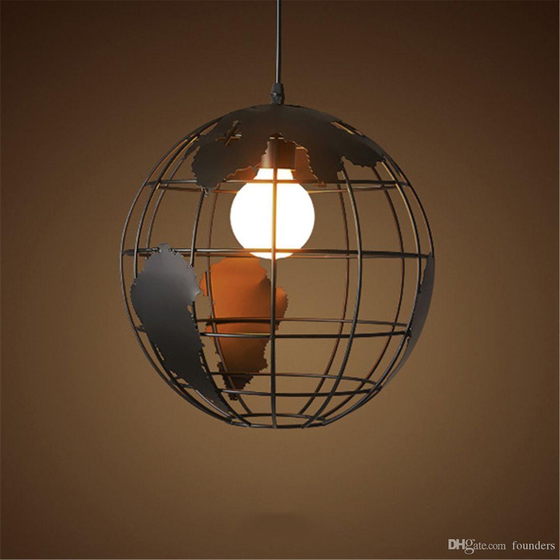 Loft créatif noir continental unique lustre globe rétro salon métallique moderne café lampe de plafond décontracté monde lustre