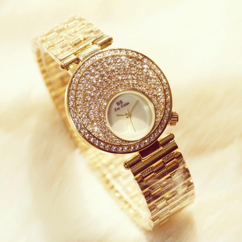 Luxuxfrauen Uhren Damen Mode Strass WristwatchDiamond große Zifferblatt Uhr-Quarz-Uhren Relogios Femininos