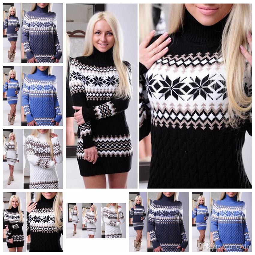 2020 European American Christmas Turtleneck Sweater Dress Snowflake Pullover Sweater, White, Black, Royal Blue, Navy, Support Mixed Batch From Cydm,