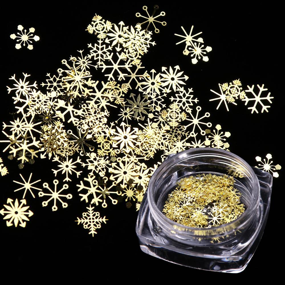 Nail Glitter Рождество Золото Снежинка Nail Art Блестка порошковой пыль Хлопья 3D Шарм украшение