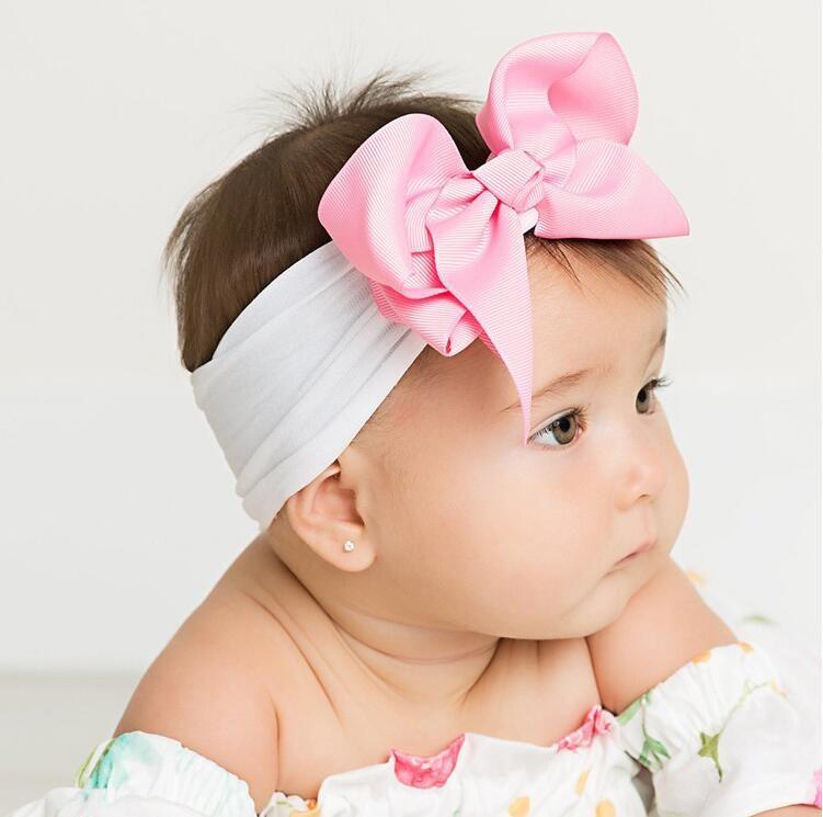 Baby Headband Nylon Baby Girl Headbands Diadema Bebe Recien Nacido Large Nylon Baby Bows Babies Hair Band Turban Accessories