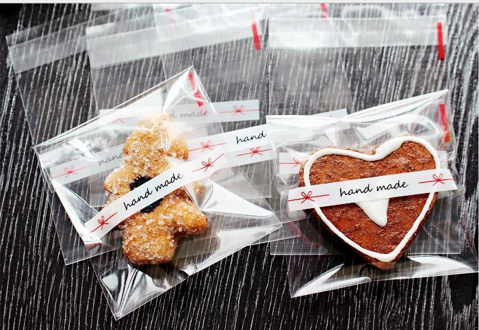 Yeni Tasarım 7 * 7 + 3 cm El Yapımı yay Temizle Çerez Bisküvi Snack Pişirme Paketi İçin Temel Şeffaf Plastik Torbalar Ambalaj