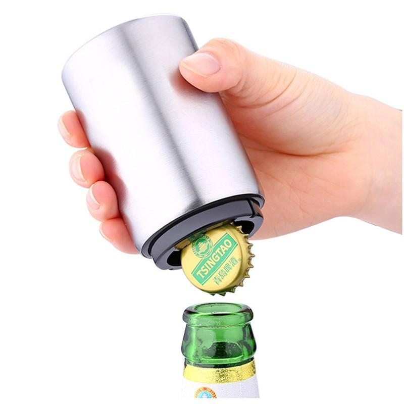 Automatic Beer Bottle Cap Opener Stainless Steel Push Down Beer Opener 2017 New Arrival High Quality Kitchen Gadgets b166