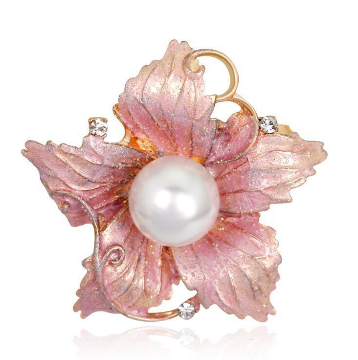 Enamel Flower Brooch Pins Big Pearl Bride Wedding Jewelry Corsage Women Dress Coat Accessories for Party