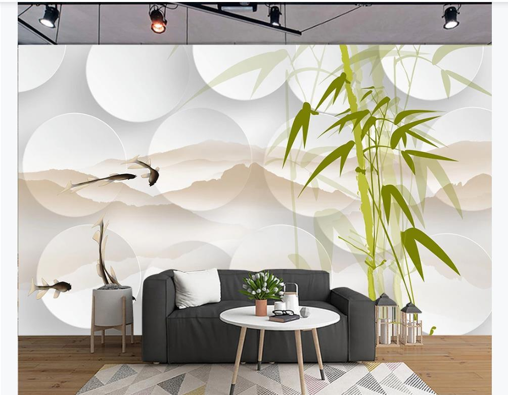 Chinese Style HD stereo ink bamboo Mural Geometric white circle For Living room Bedroom TV background wallpaper For Walls 3D