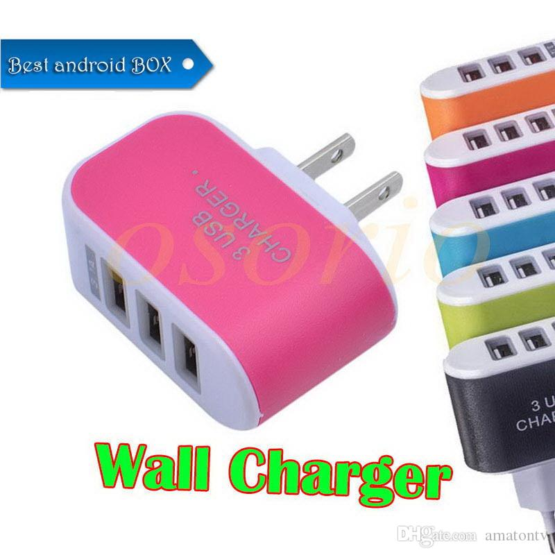Best seller US EU Plug 3 USB Wall Chargers 5V 3.1A LED Adapter Travel Convenient Power Adapter with triple USB Ports For smarphones