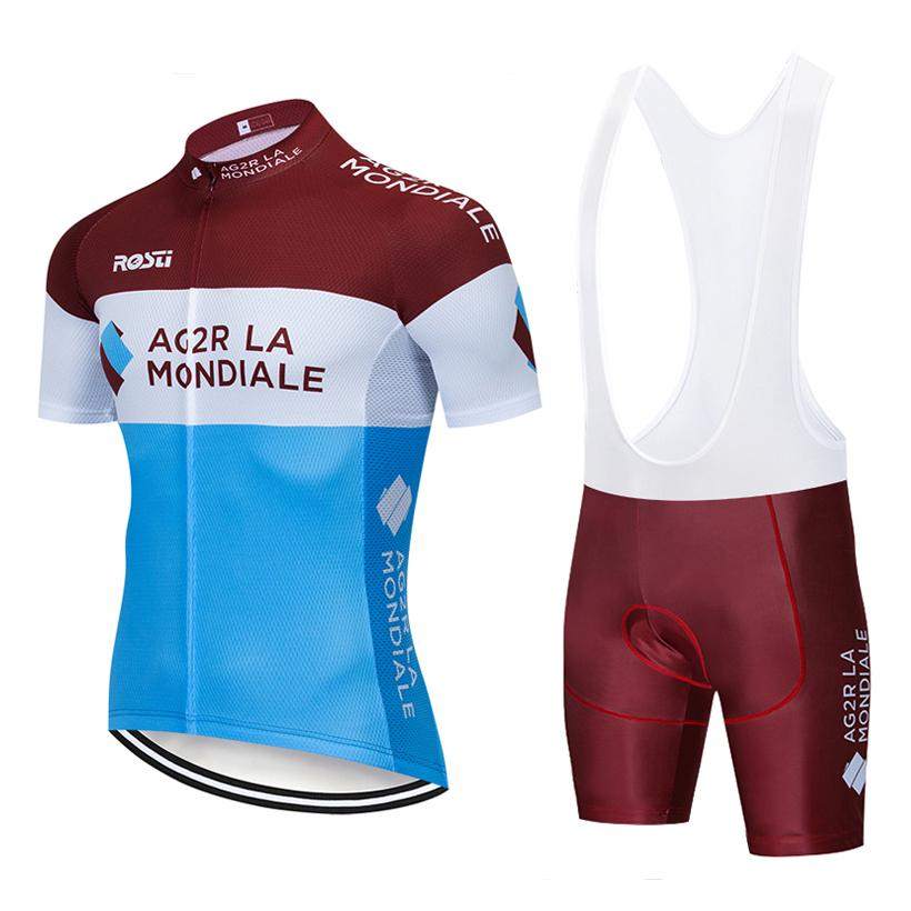 2019 AG2R 사이클링 팀 저지 20D 자전거 반바지 정장 Ropa Ciclismo Mens 여름 빠른 건조 PRO 자전거 Maillot Pants clothing