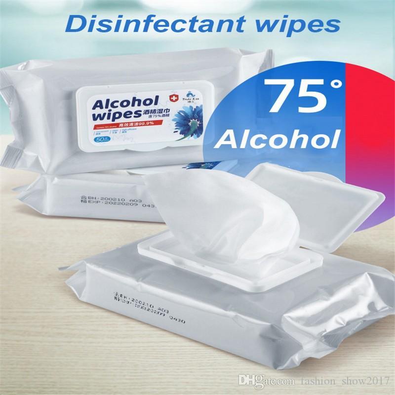 50pcs / boîte de désinfection Antiseptique Tapis alcool écouvillons Lingettes humides Nettoyage de la peau Soins de stérilisation Nettoyage Tissue Box