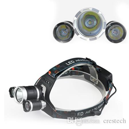 3T6 كشافات 6000 لومينز 3 × T6 رئيس مصباح عالية الطاقة الصمام كشافات رئيس الشعلة مصباح المصباح رئيس + شاحن
