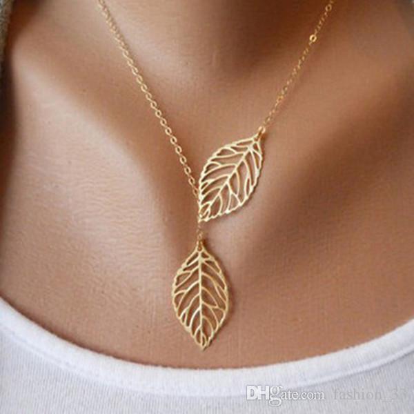 بسيطة الأوروبية أزياء جديدة خمر الشرير الذهب الجوف اثنين أوراق يترك قلادة قلادة الترقوة سلسلة سحر مجوهرات للنساء YD0056