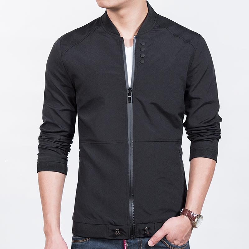 M-5XL 2019 la nueva manera de los hombres del otoño masculino chaquetas ocasionales adelgazan collar del soporte de la chaqueta de bombardero de los hombres de Outerdoor abrigo rompevientos